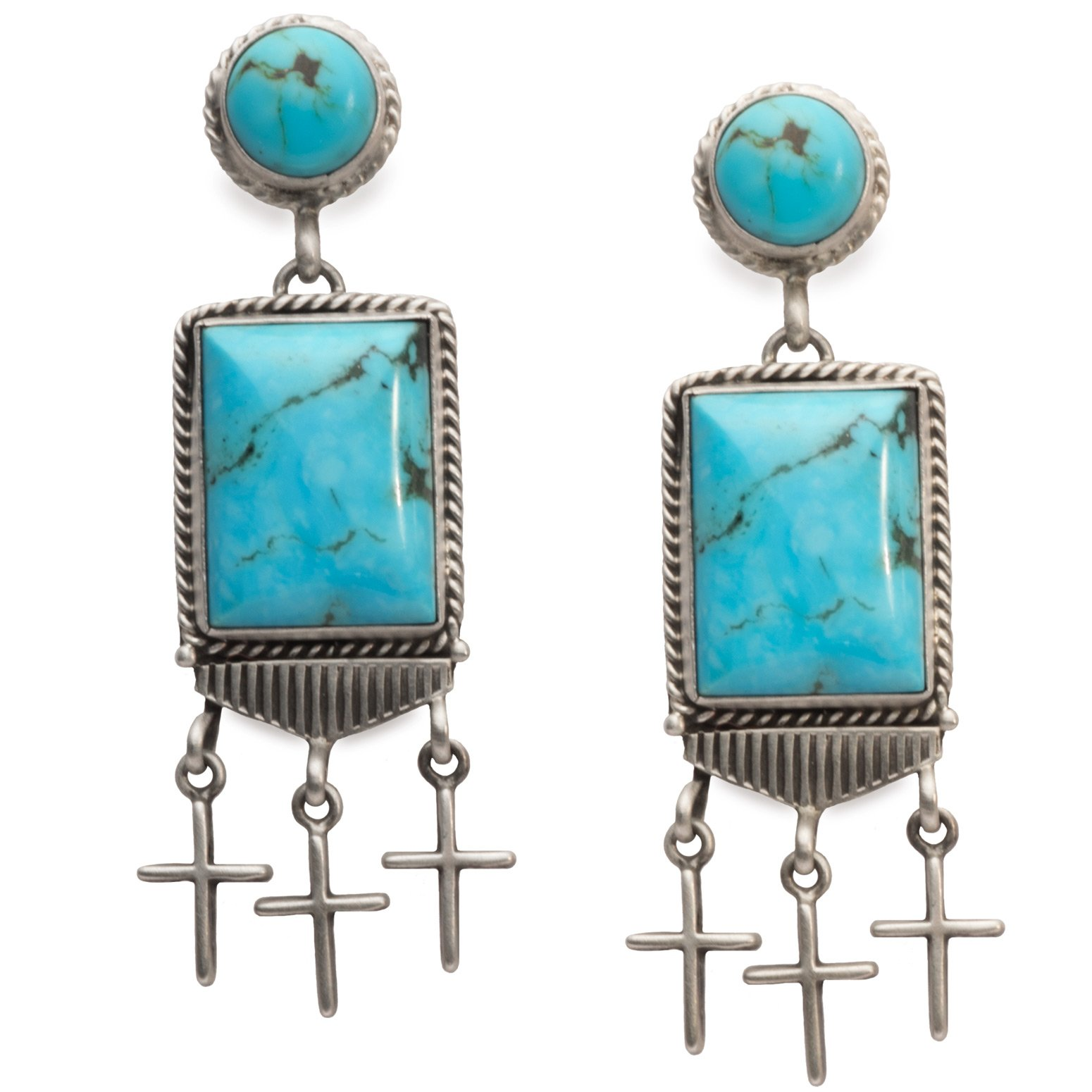 Navajo Turquoise Earrings With Crosses