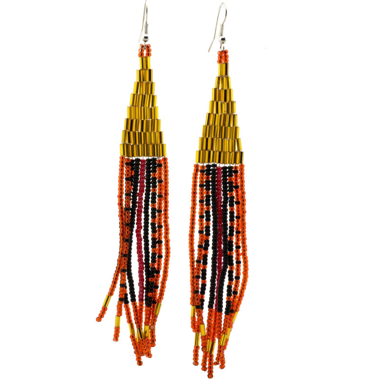Gold Navajo Beaded Earrings