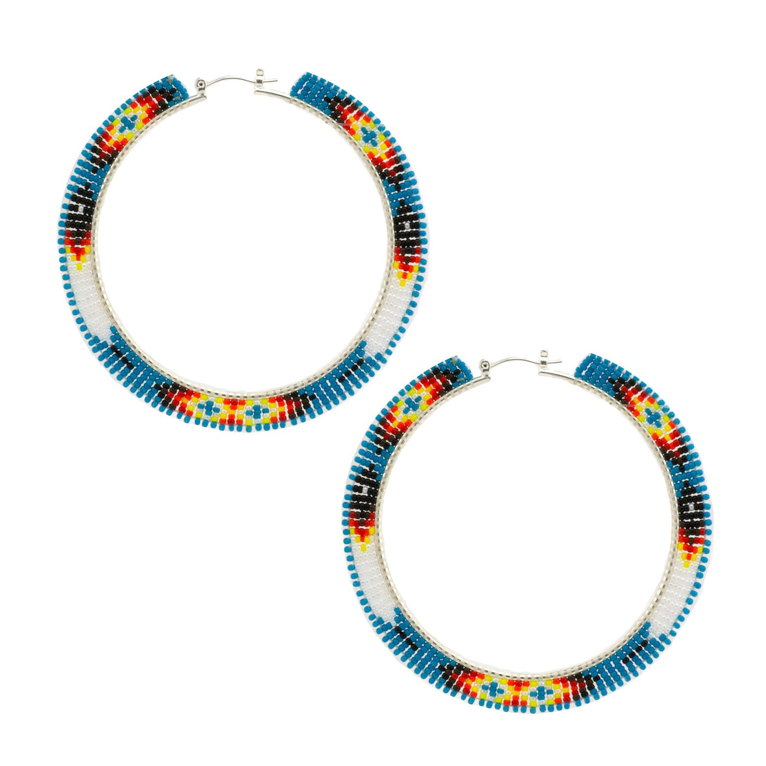 Large Navajo Beaded Hoop Earrings
