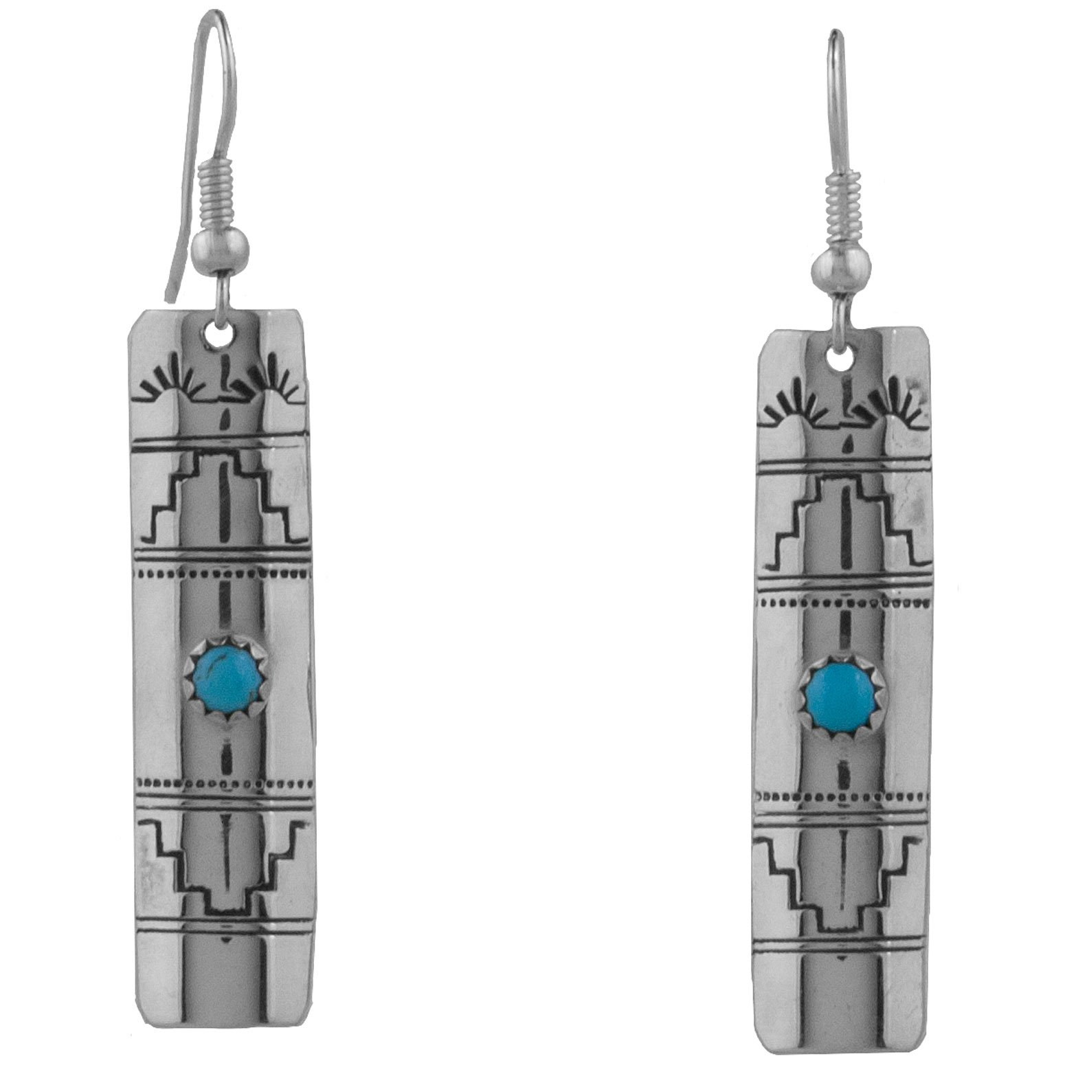 Navajo Silver Stamped Turquoise Earrings